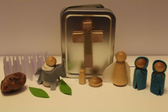 A play set designed to help children learn about Jesus' death, burial and resurrection.    This set includes pieces to reenact the last days Jesus spent on earth and a booklet to guide you through a week long daily devotional time (Palm Sunday to Easter Sunday).  On etsy.com by The Brown Pearl