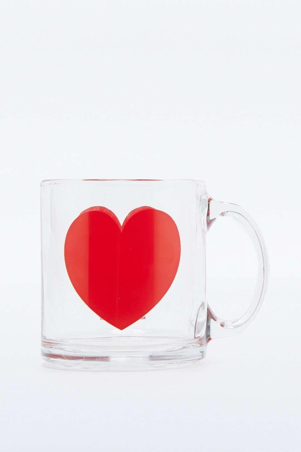 Tasse en verre motif cœur
