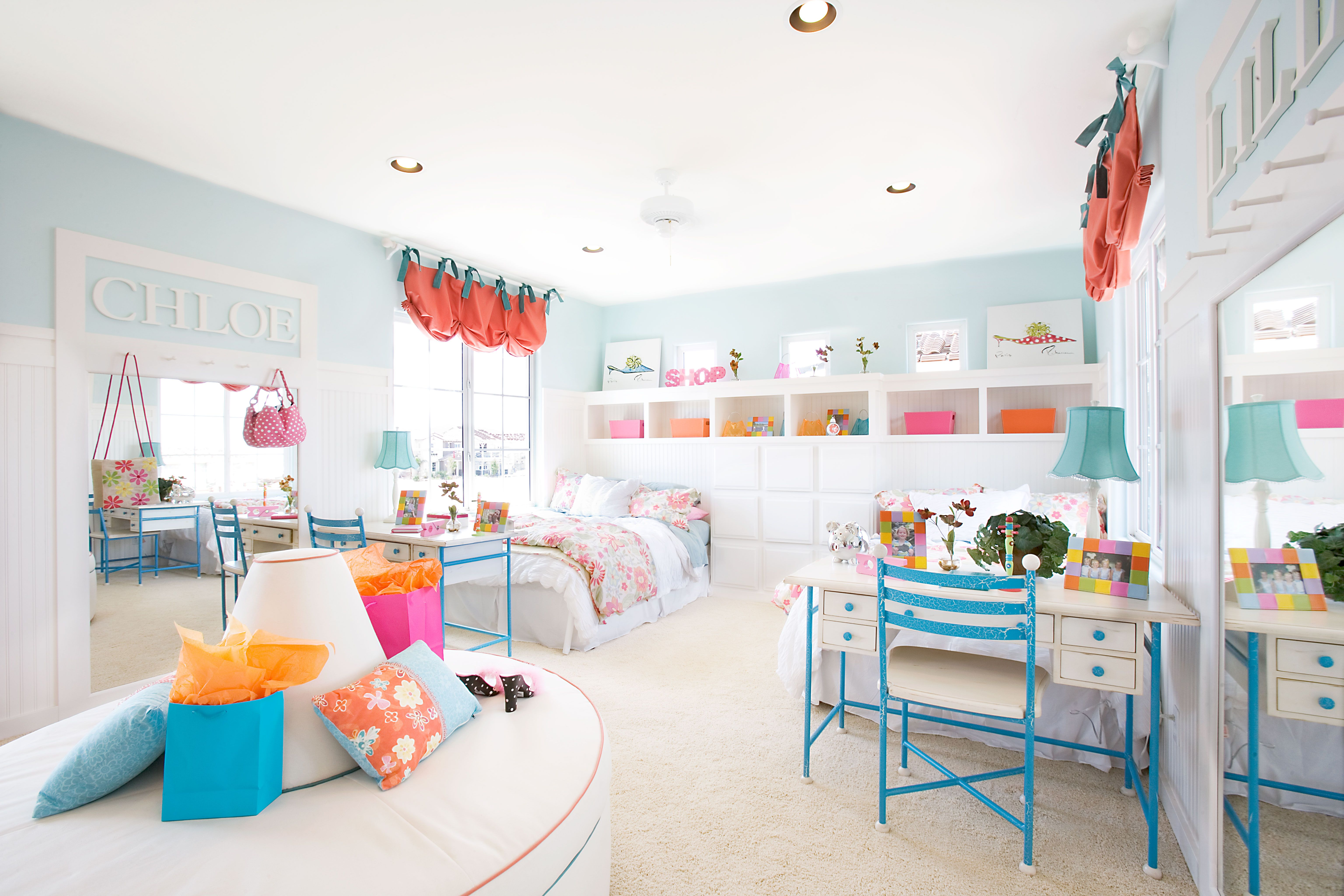 Large Colorful Pastel Color Kid Bedroom Design With White Base Interior Also Retro Furniture For