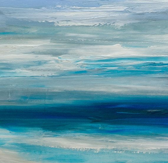 SALE Original Abstract Sea Art Acrylic Painting Beach By