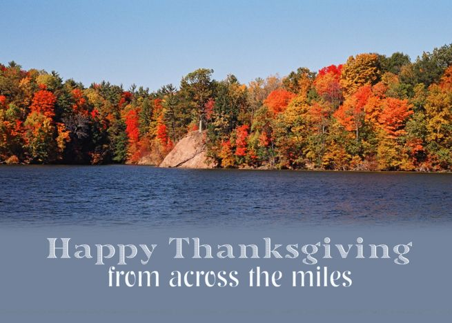Happy Thanksgiving, Fall Scenery with water card #fallscenery