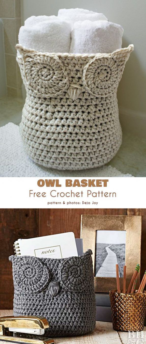 Owl Basket Container Free Crochet Pattern