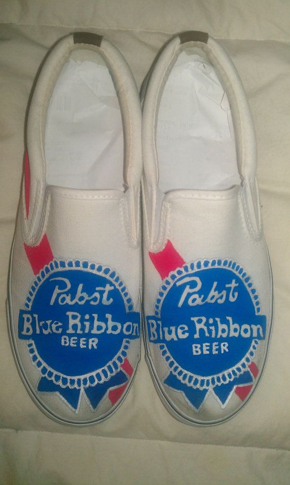 Christopher Bright Pabst Blue Ribbon Unisex Slipon Shoes By