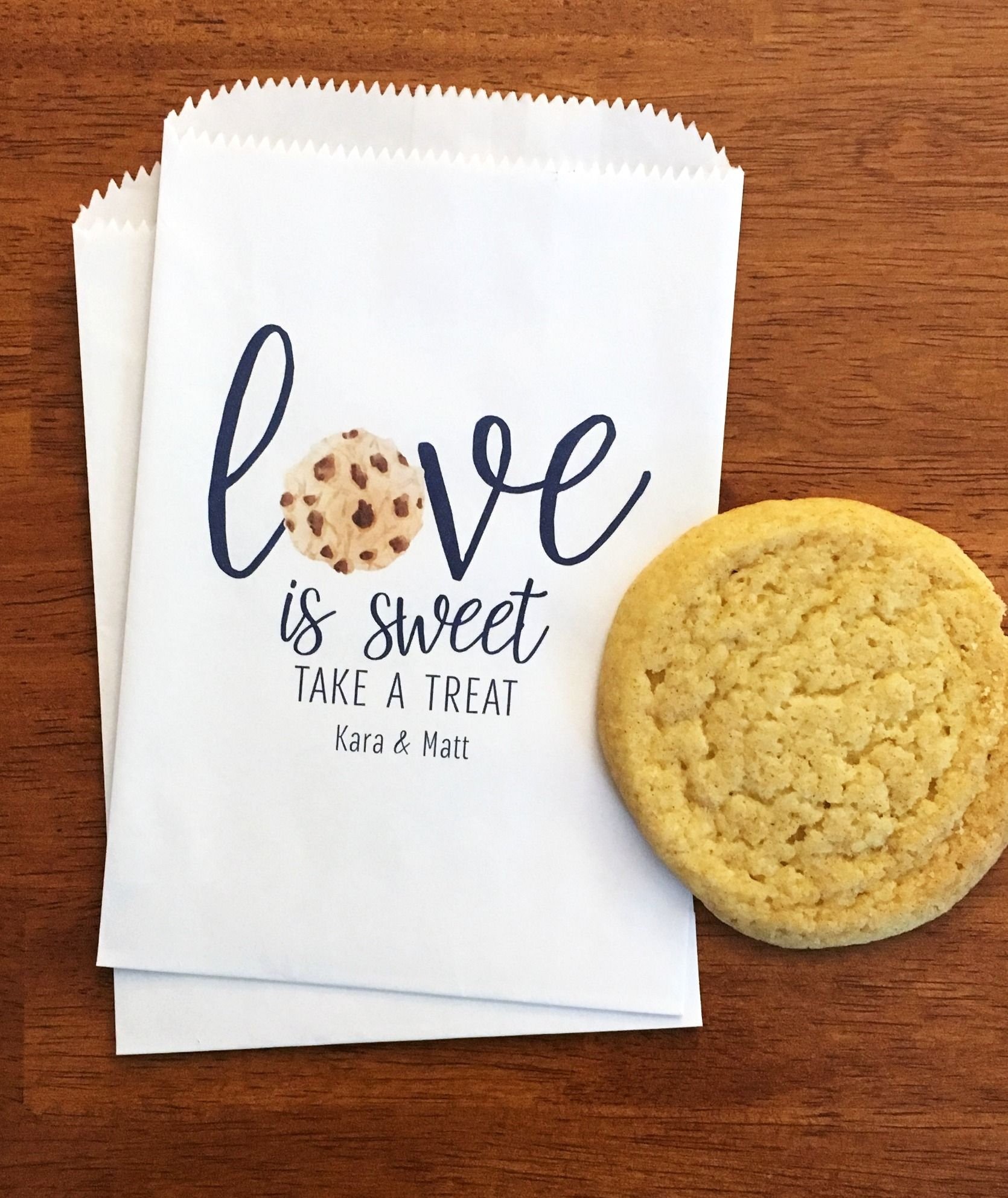 Wedding Cookie Bags LINED - Love Is Sweet Bags - Wedding Cookie ...