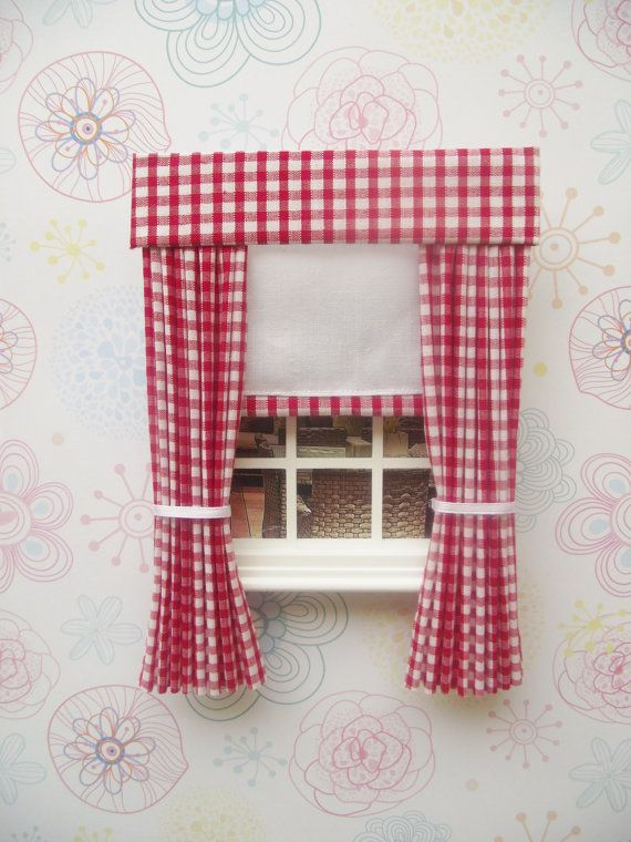 Dollhouse Miniature Handmade Yellow Floral Valance//Curtain//Drapes