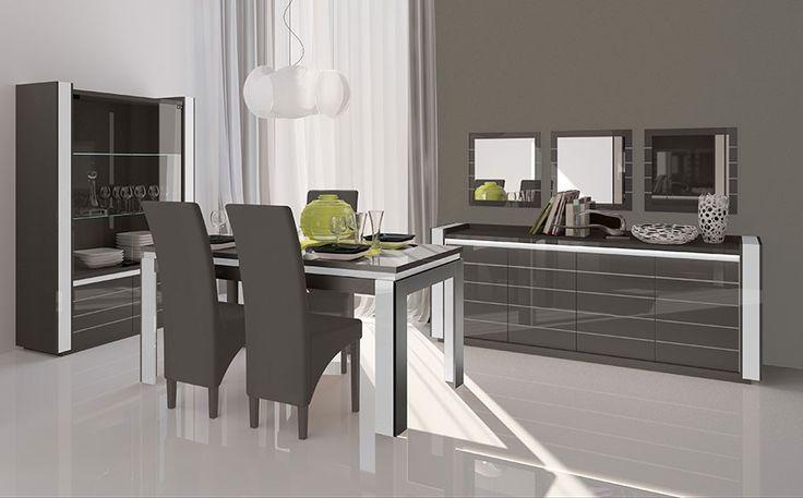 Salle à manger complète blanc laqué et bois gris moderne ELIOS 2