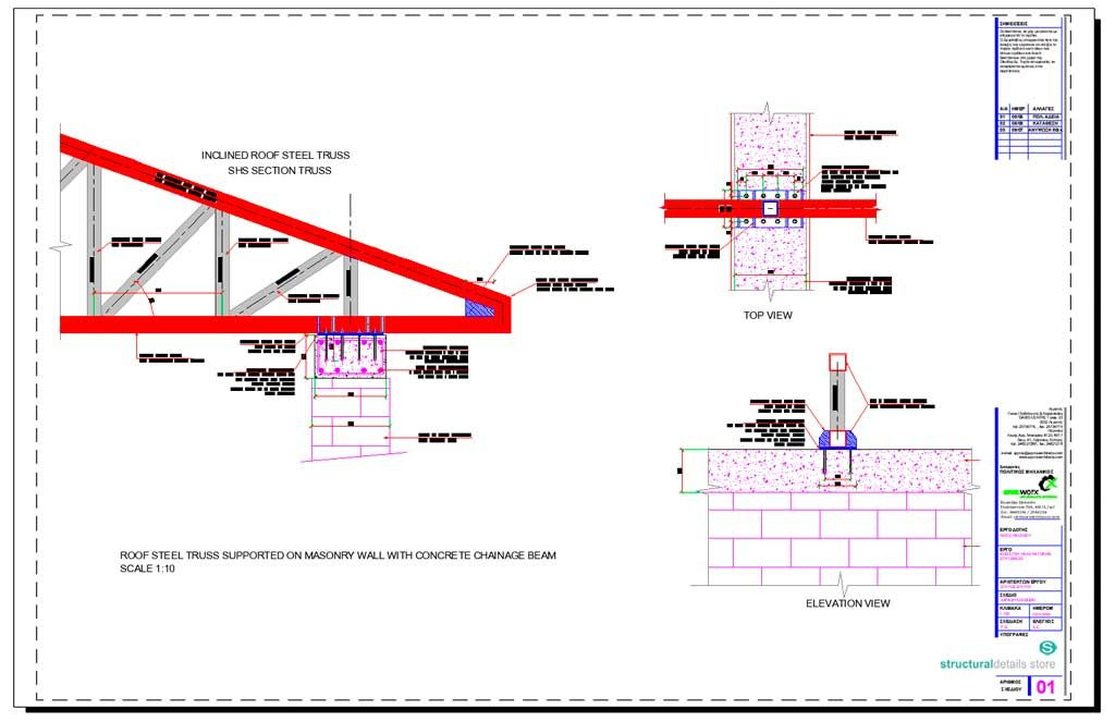 Roof Steel Truss Supported On Masonry Wall With Concrete Chainage Beam Steel Trusses Masonry Wall Steel Roofing