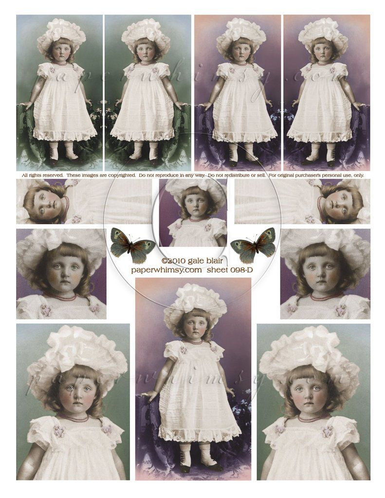 Sheet 098 PDF paperwhimsy (With images) Vintage girls