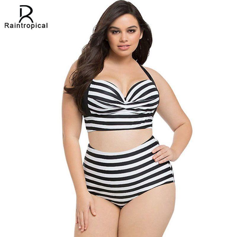 428dc9dcea4 New Bikinis High Waist Swimsuit Women Plus Size Swimwear Large Size Print  Vintage Retro Plaid Beach Push Up Bikini Set 4XL