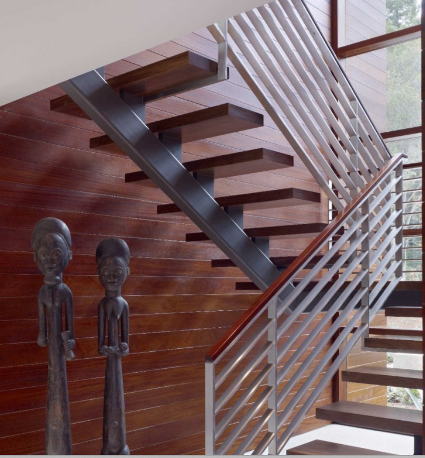 7 Ultra Modern Staircases: Close Up Of Stair Rail & Mono Support Beam