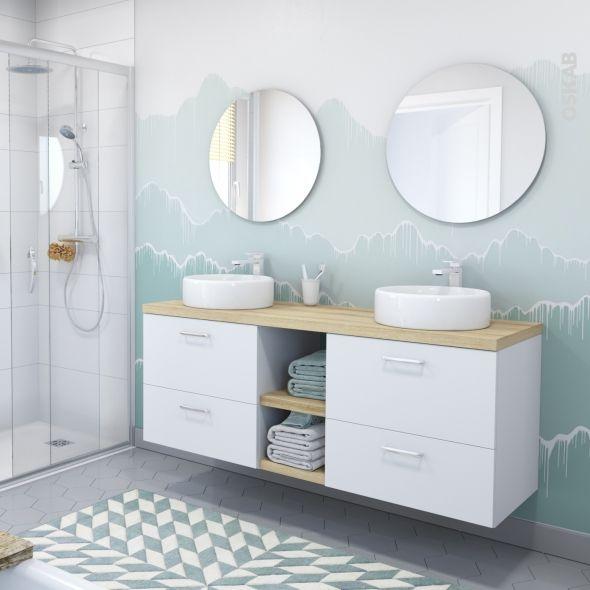 Meuble de salle de bains Sous vasque GINKO Blanc, 2 tiroirs, Côtés