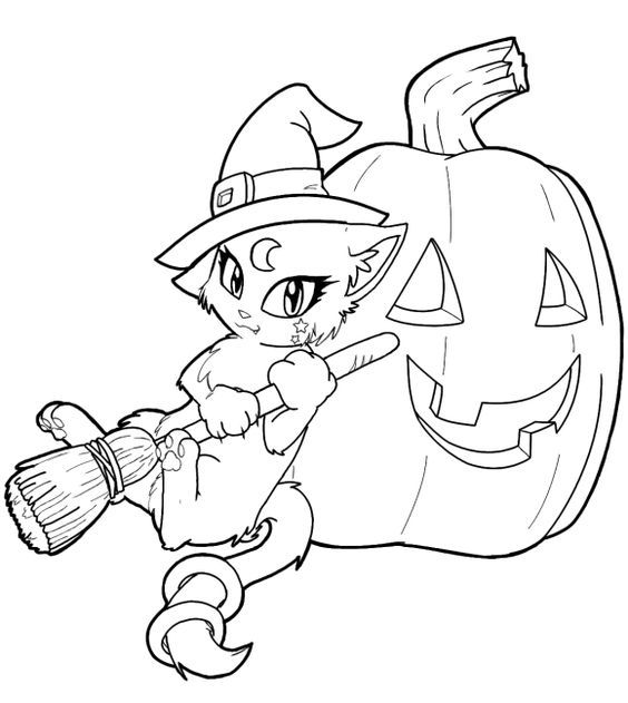Kitty Cat Free Halloween Coloring Pages For Kindergarten Witch