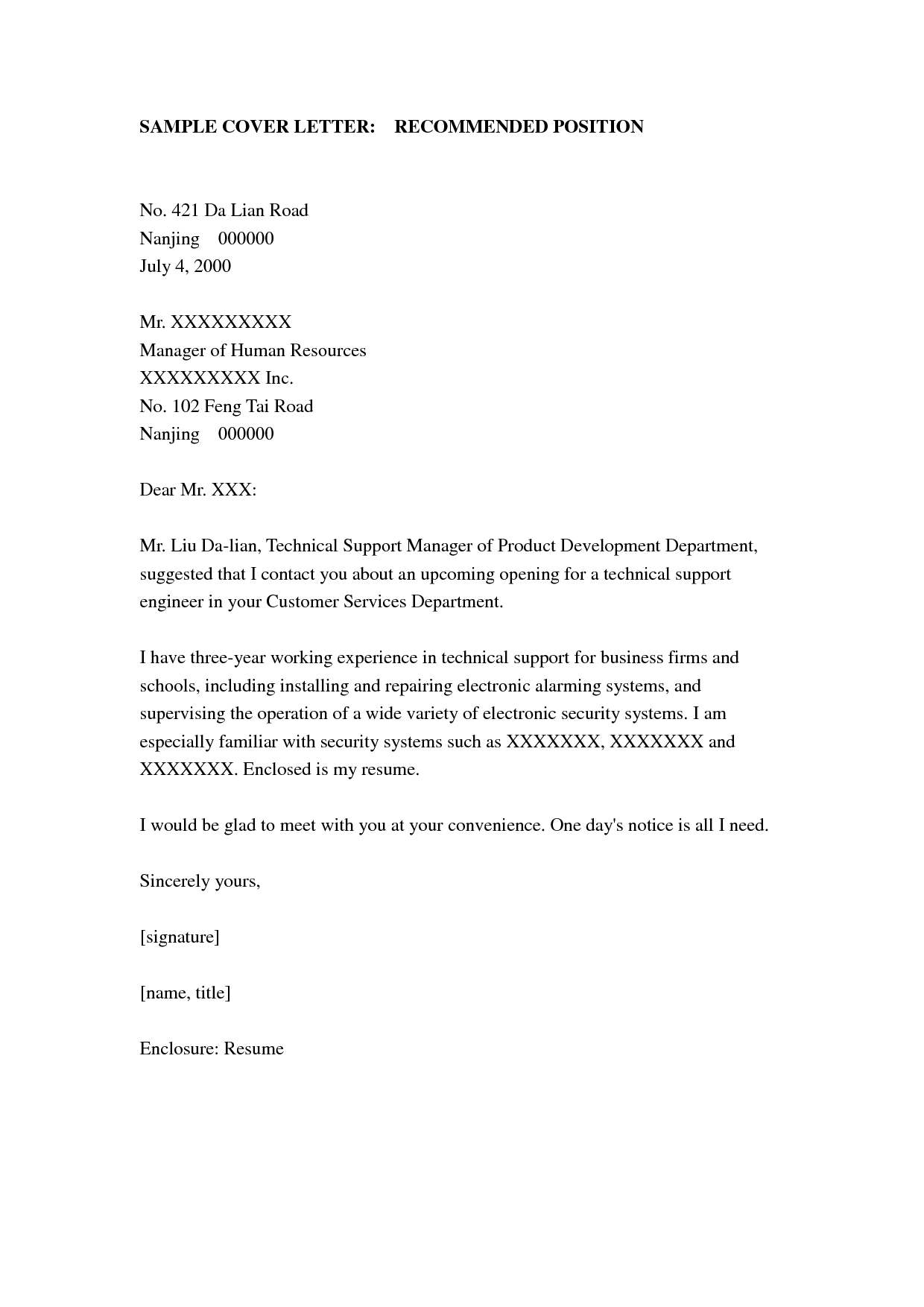 example cover letter for job resume httpwwwresumecareerinfo - Example Of An Cover Letter For A Job