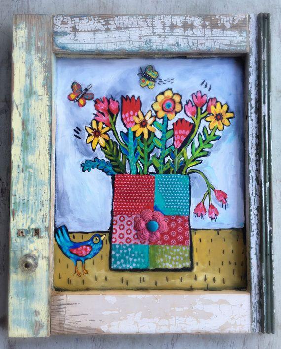Arte Floral pintura de técnica mixta en un 16 x20 pulgadas rústico marco hecho a mano. Utilicé madera recuperada de una antigua puerta de pantalla y gabinetes, raspaduras de tela y un botón vintage. Está sellado y tiene un gancho de alambre.