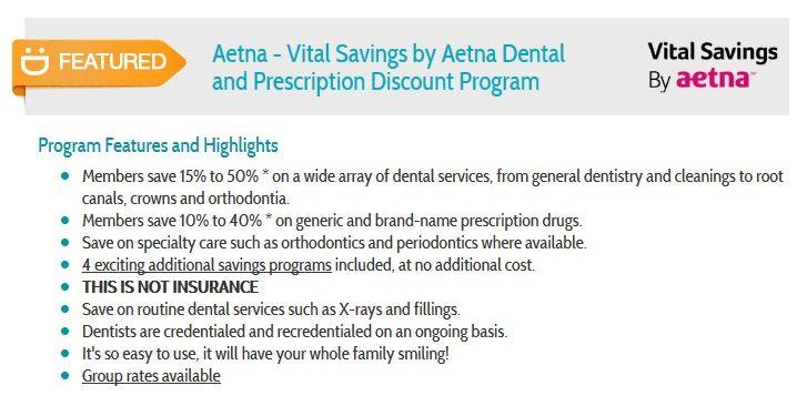 Aetna Vital Savings By Aetna Dental And Prescription Discount