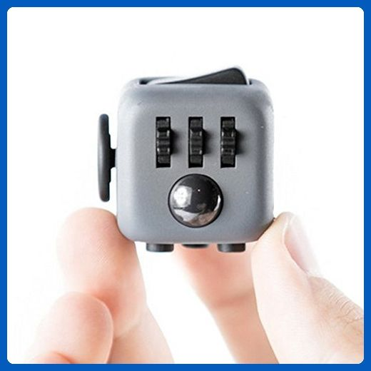 Fidget Cube Ceavis Creative 6 Sides Dice Anti-anxiety and Depression Toys For Girl Boys Children Adults Christmas Gifts (Fidget Cube, Black-Grey)
