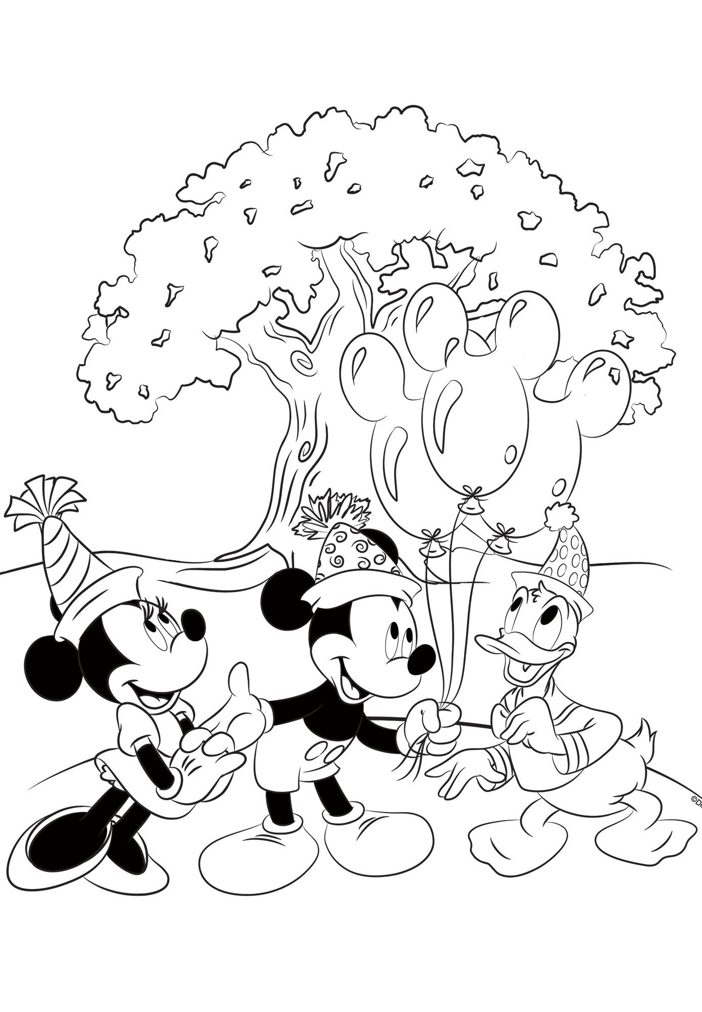 Free Mickey, Minnie and Donald coloring page! Disney
