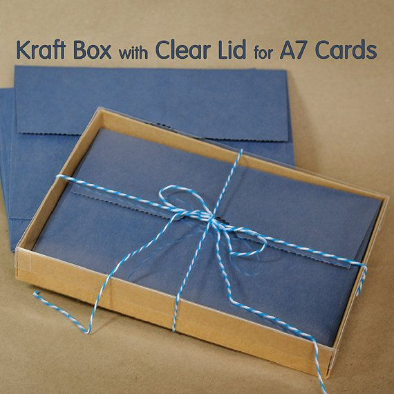 25 sets a7 kraft box with clear lid 5 38 x 1 x 7 by mindthewrap 25 sets kraft box with clear lid 5 x 1 x 7 inches greeting cards presentation or gift box m4hsunfo