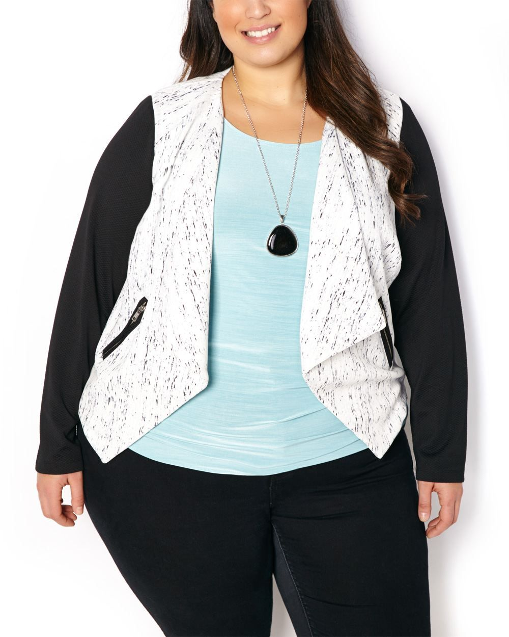 """Layer your looks in style thanks to this trendy plus-size jacket! It features a stylish two-toned knit fabric with contrasting long sleeves, an open front design and practical zipped pockets at front. Adds an edge to any outfit! Length: 26"""""""