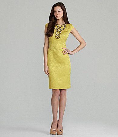 Jones New York CapSleeve Jacquard Dress #Dillards