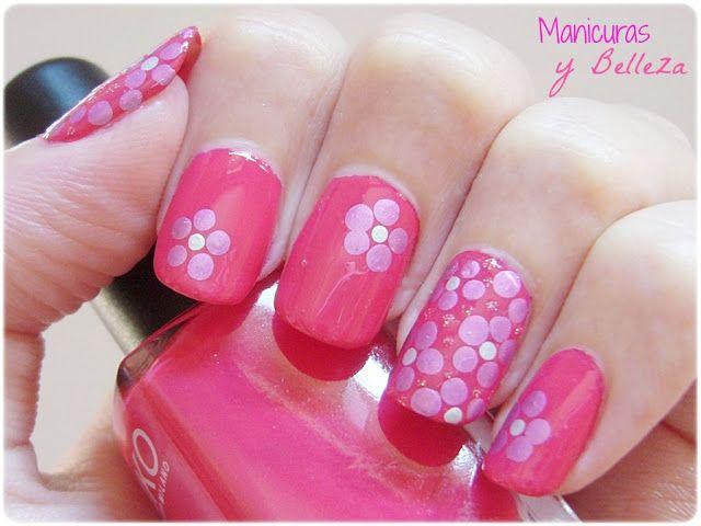 Uñas con flores rosas con Kiko y puntos fáciles // Easy nail art ...