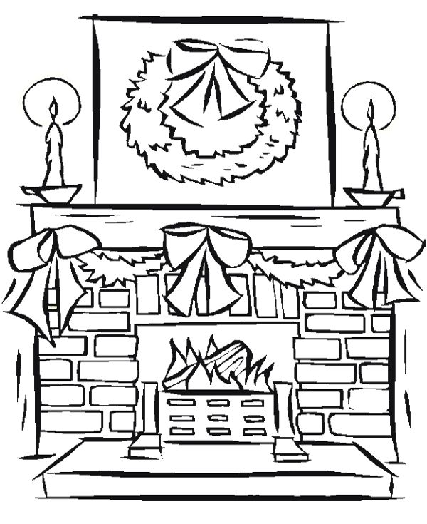 Fireplace Decoration Christmas With Candles Coloring Page Free