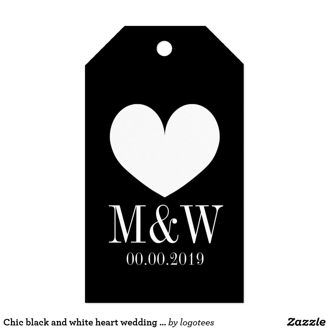 Chic black and white heart wedding favor gift tag | Wedding and ...