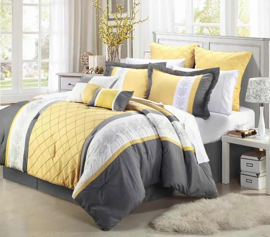 8 Piece Gray Yellow White Embroidery Comforter Set Cal King Size Yellow And Gray Comforter Comforter Sets Yellow Bedding