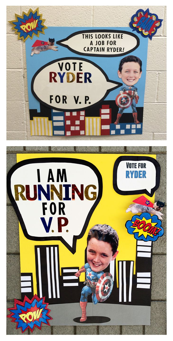 stuco student council vice president poster ideas superhero running for v p