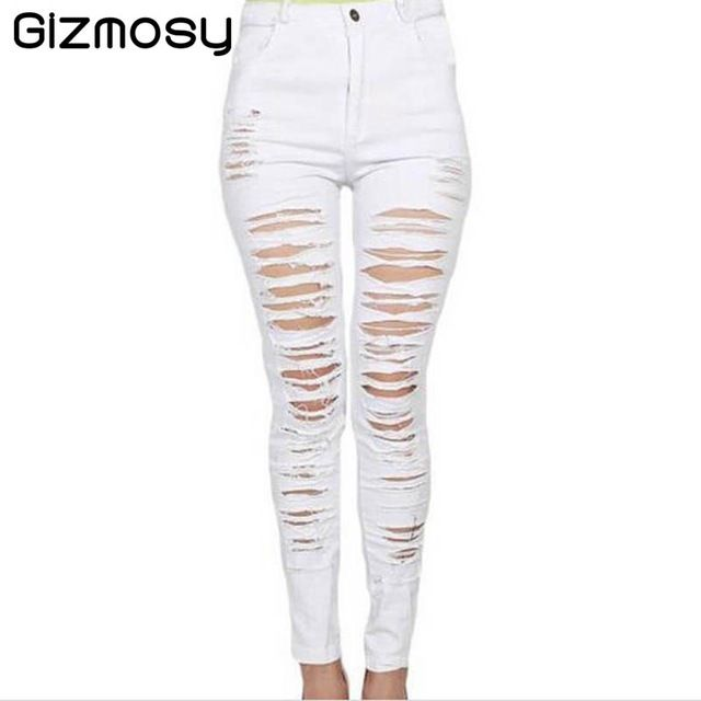 New Denim Women 2016 High Waist Ripped Jeans for Women Girls ...