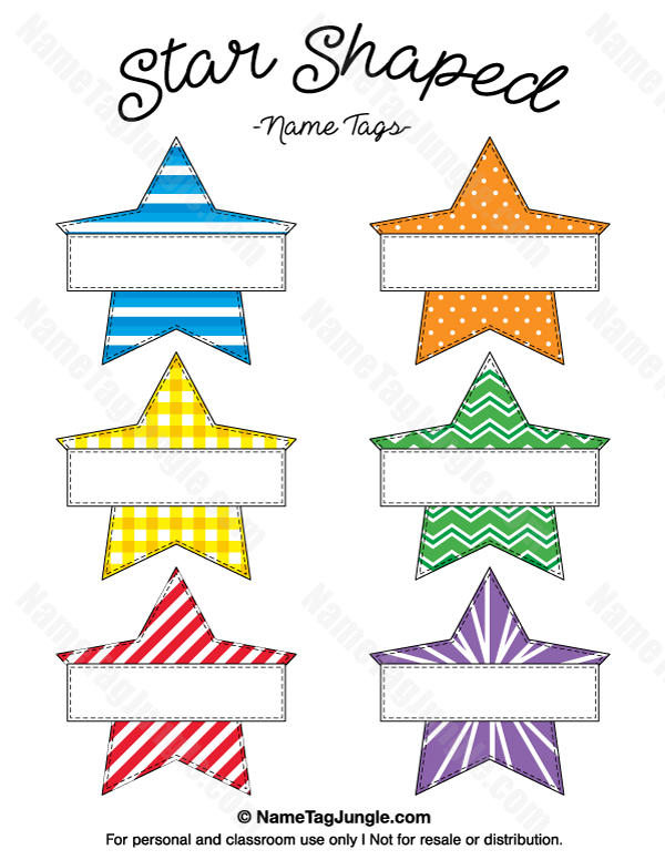 Free Printable Star Shaped Name Tags The Template Can Also Be