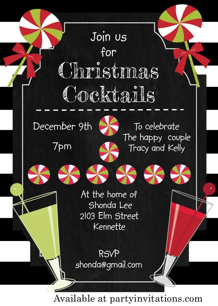 black and white christmas cocktail party invitations - Christmas Cocktail Party