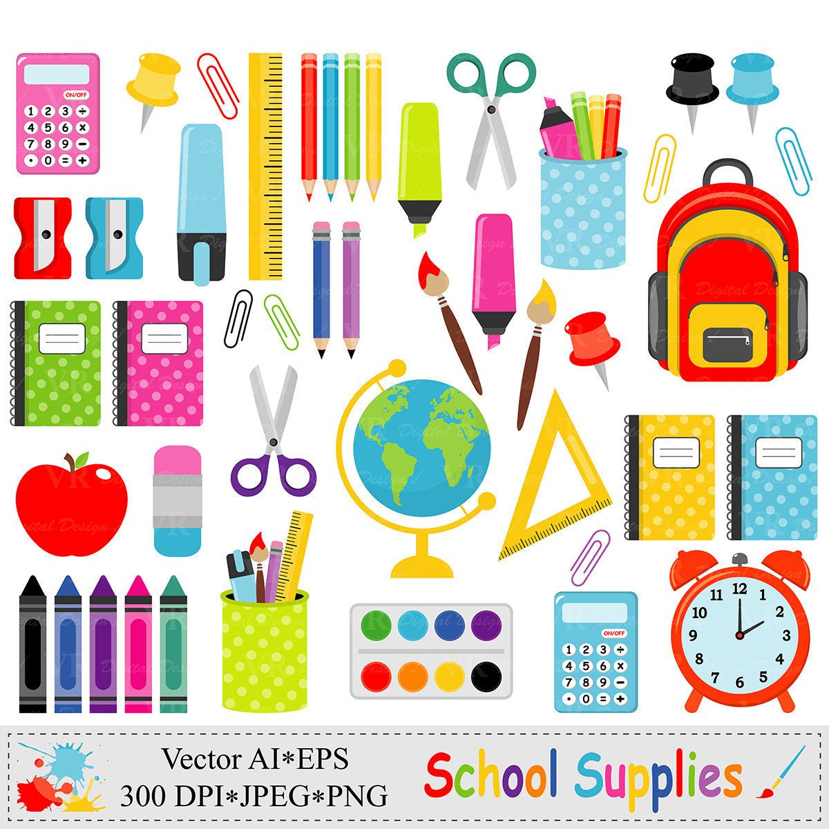 school supplies clip art back to school graphics stationery education teacher vector [ 1200 x 1200 Pixel ]