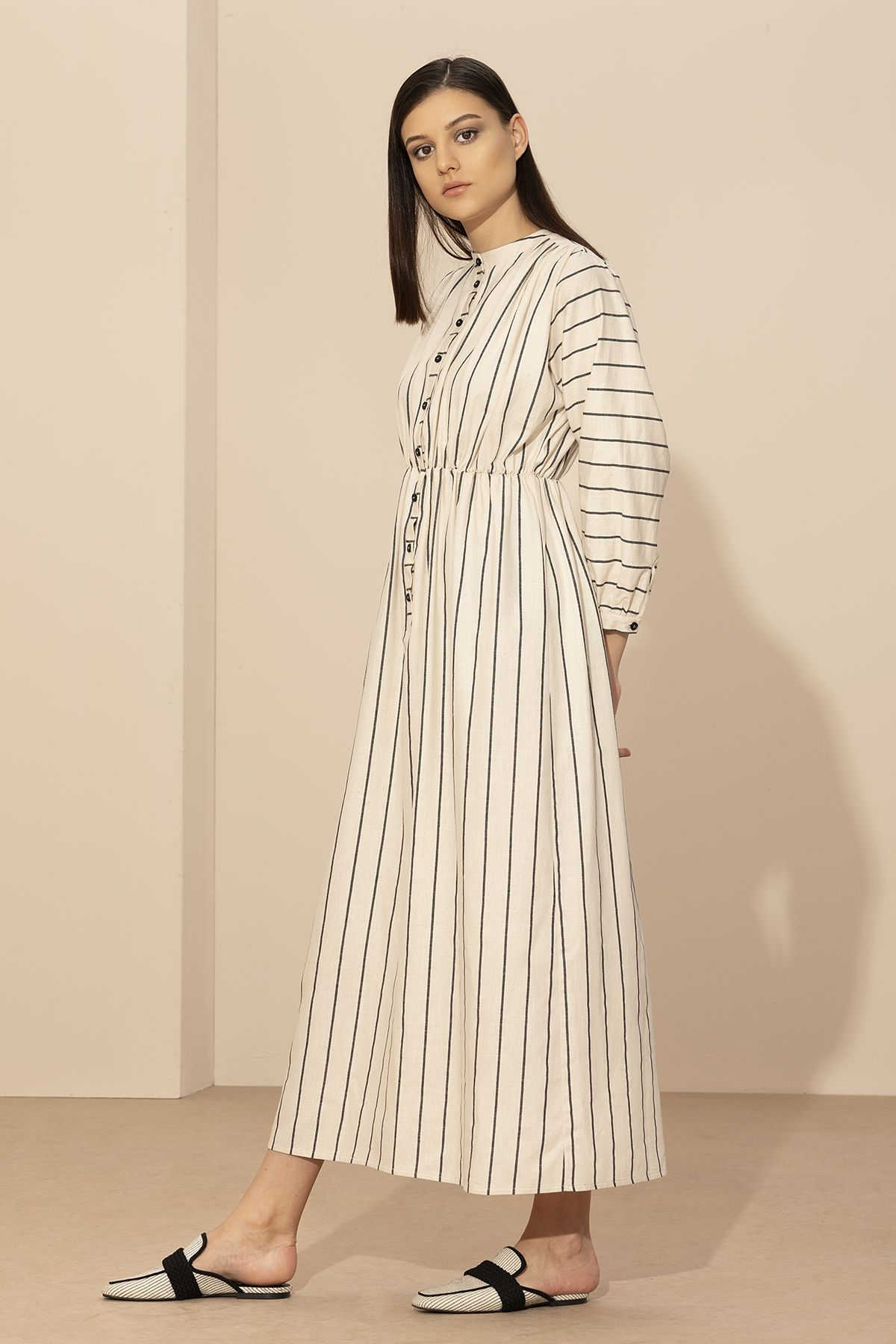 Koton Ekru Siyah Cizgili Elbise 2090 Kuaybegider Com Cizgili Elbise Elbise Elbise Dugun