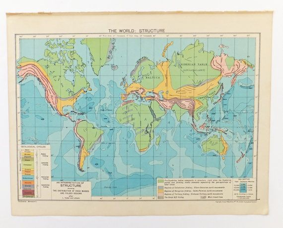 World Structure Map Large Vintage World Map Map Poster - Large vintage world map