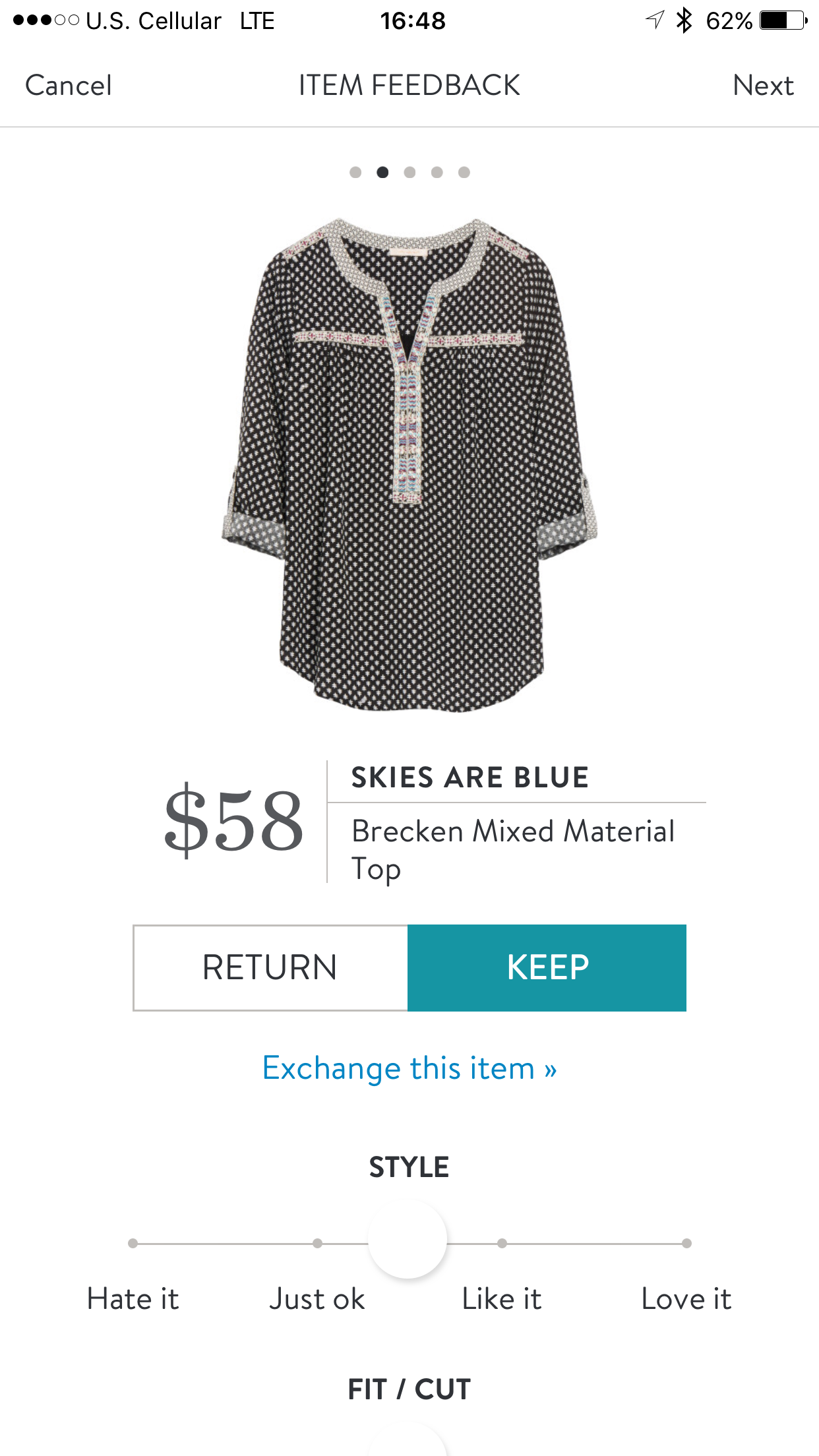 Skies Are Blue Brecken mixed material top Stitch fix
