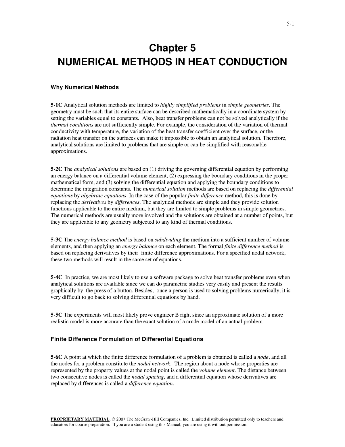 Solution Manual Heat And Mass Transfer A Practical Approach 3rd Edition Cengel Chapter 5 Studocu