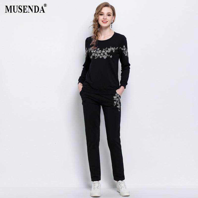 128ef952b4e MUSENDA Plus Size 5XL Women Black Embroidery Tops Elastic Waist Full Length  Pants 2018 Spring Female Lady Casual Two Piece Sets