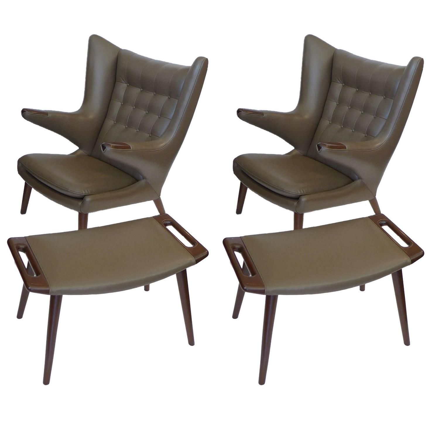 Pair of Early Original Hans Wegner Papa Bear Chairs w/ Ottomans in Taupe Leather