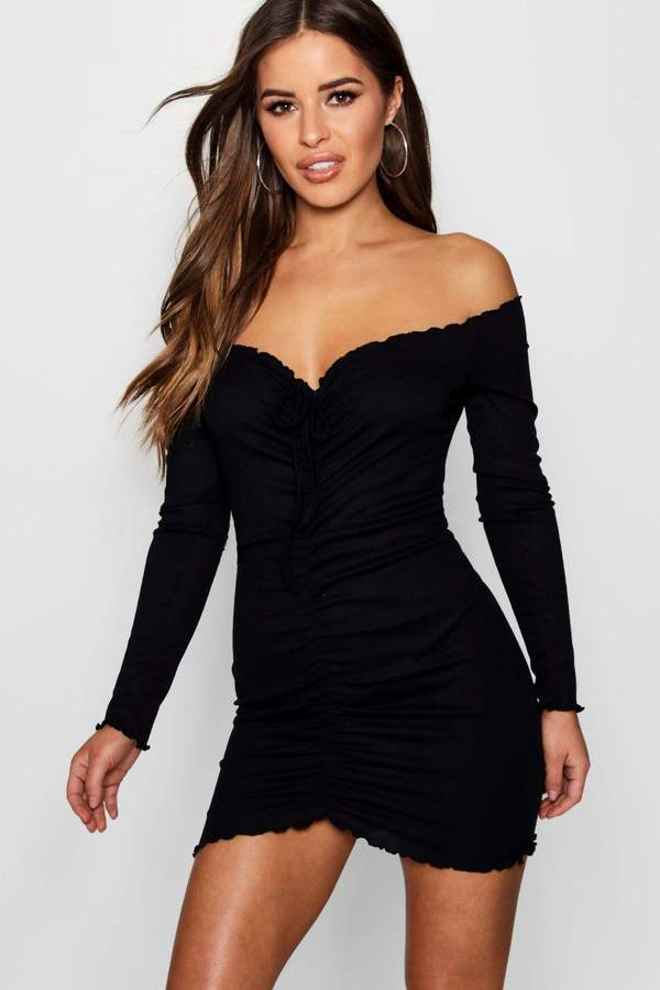 0c85565ad8 Petite Ruched Front Rib Bardot Bodycon Dress | Boohoo | Bodycon ...