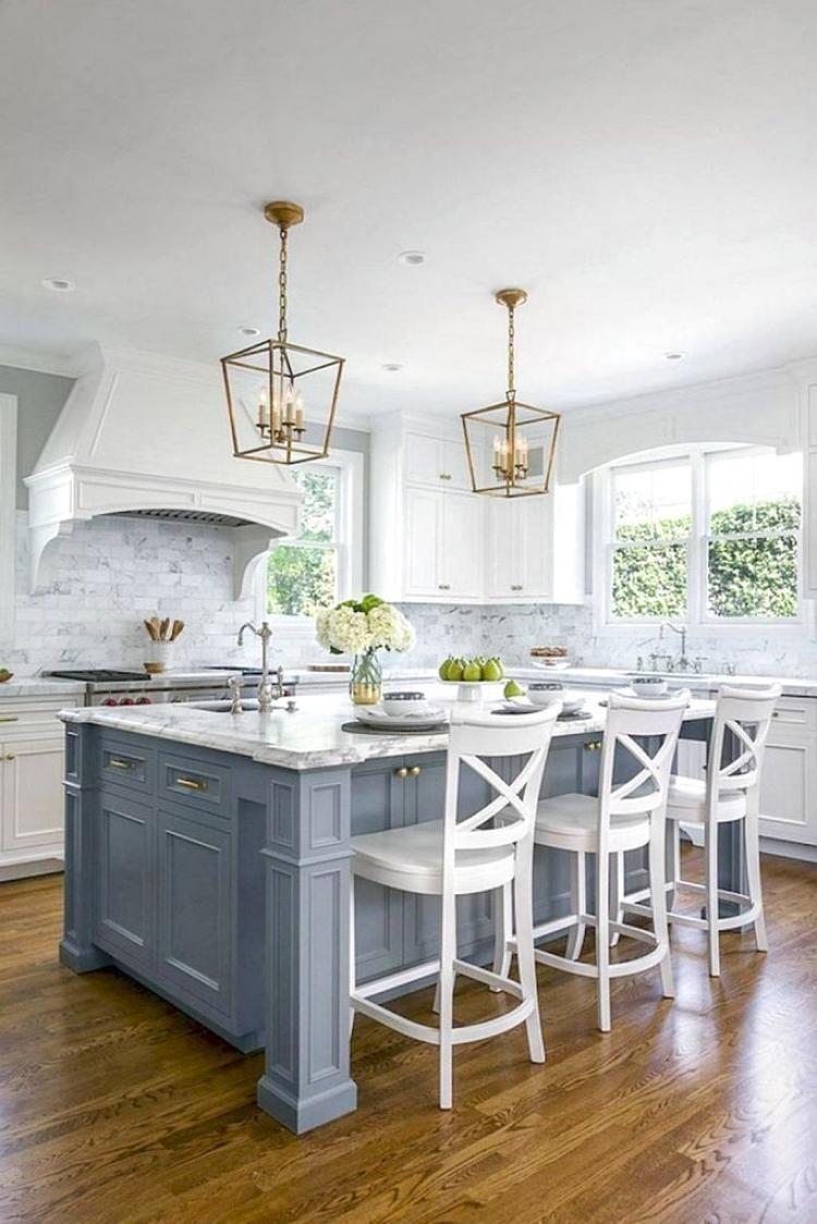 The Granite Gurus The Perimeter Countertops Are Super White Quartzite With A Mitered Edge Detail Th Kitchen Design Kitchen Design Small Kitchen Island Design