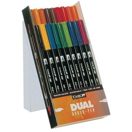 Tombow Dual Brush Pen ABT - plastieken doos - assortiment van duo markers - Schleiper