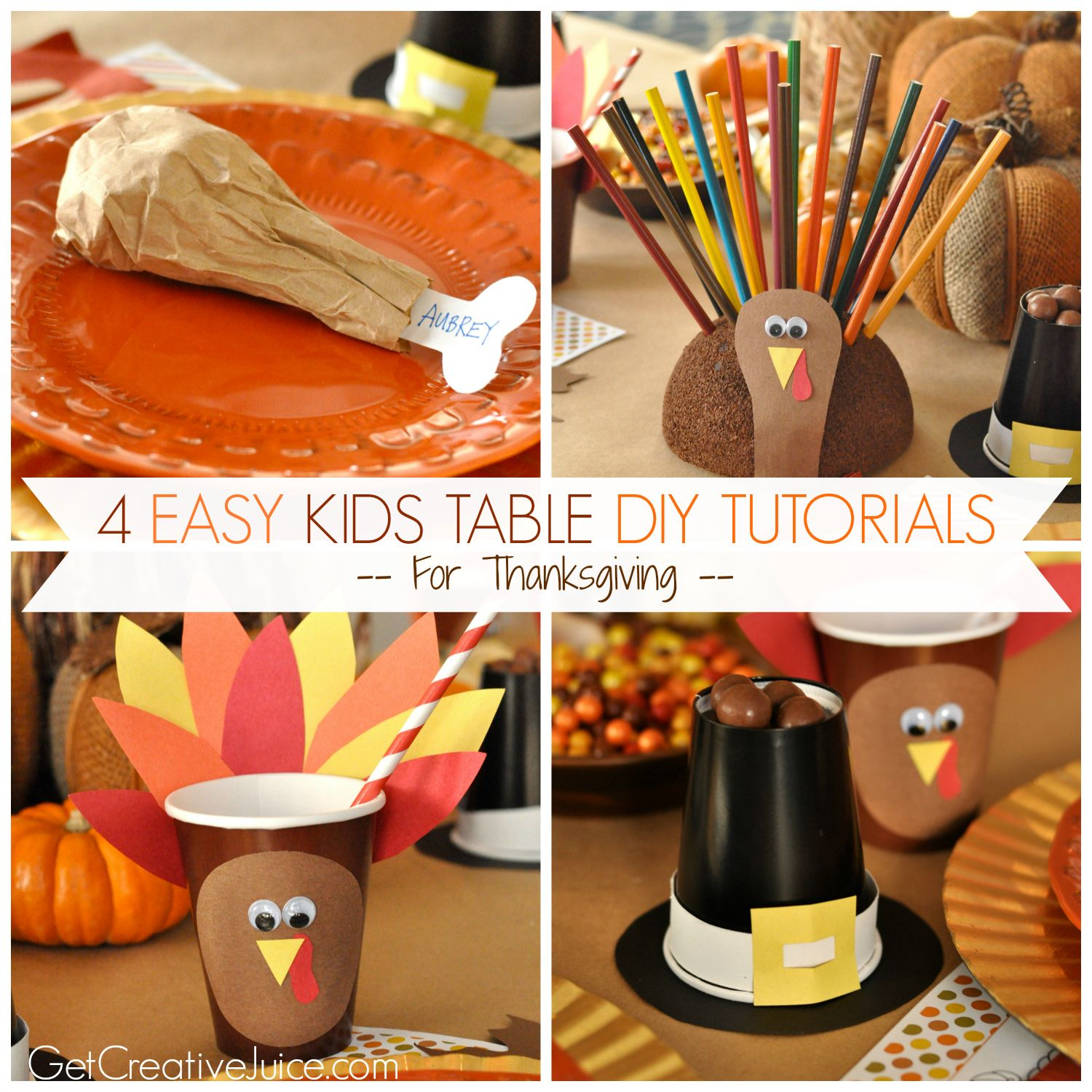 Easy Fun And Cute Kids Thanksgiving Table Craft Tutorials