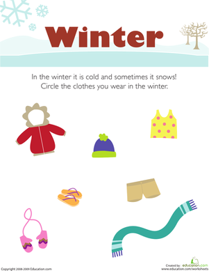 what do you wear in the winter seasons preschool seasons worksheets preschool weather. Black Bedroom Furniture Sets. Home Design Ideas