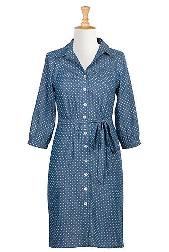 Denim chambray with dot overprint covers our casually chic cotton shirtdress shaped with a ruched back yoke and rounded front yoke.