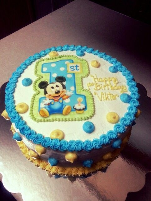 Enjoyable Baby Mickey Mouse Cake With Images Baby Mickey Mouse Cake Personalised Birthday Cards Sponlily Jamesorg