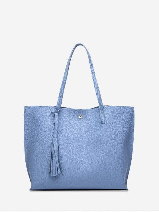 Litchi Grain Solid Color PU Shoulder Bag  Sky Blue Litchi Grain Solid Color PU Shoulder Bag  Sky Blue and  Geldbörsen und Taschen