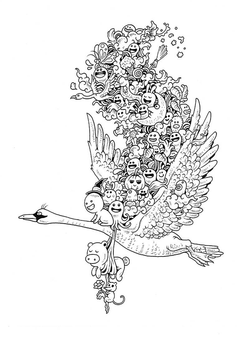 Doodle Invasion Est Un Nouveau Livre De Coloriage Destine Aux Adultes Dans La Lignee Des Excellents Adult Activity Book Et Between The Lines Imagine Par