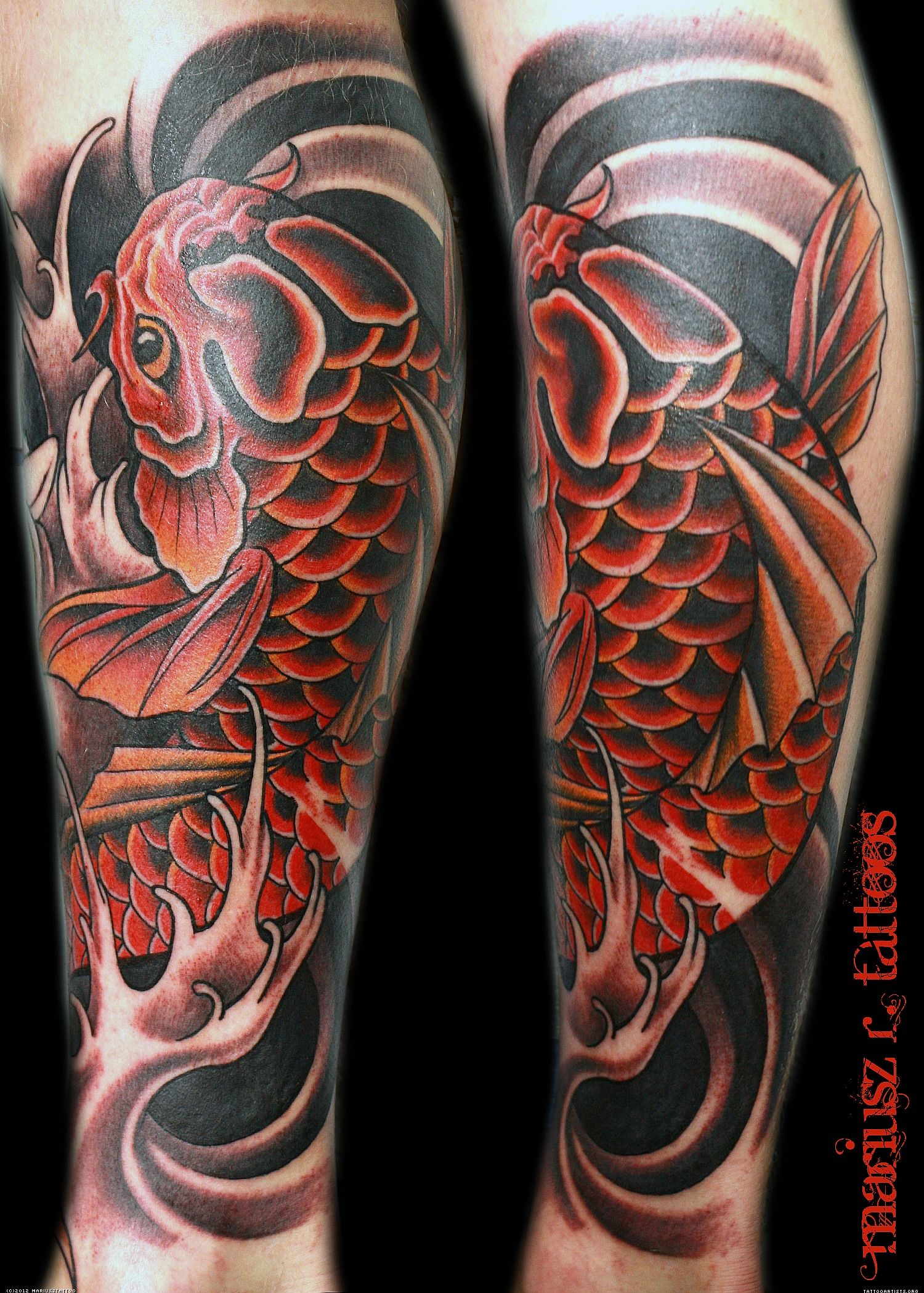 leg tattoos | RED KOI LEG - Tattoo Artists.org | Leg Tattoos ...