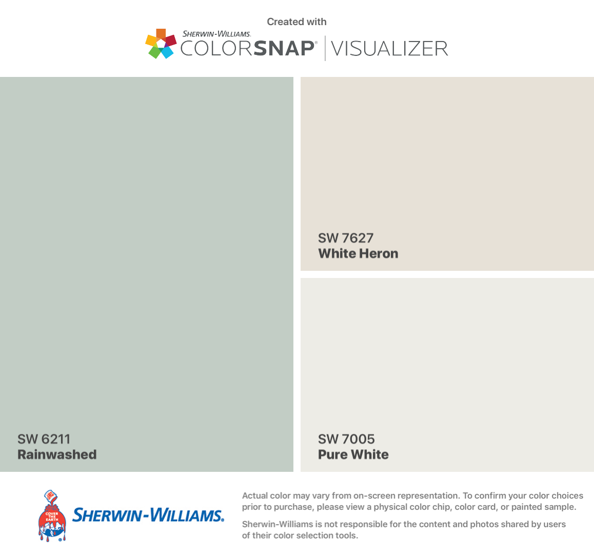 Sherwin Williams Rainwashed Sw 6211 Walls White Heron Sw 7627